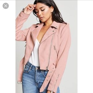 F21 faux suede motto jacket